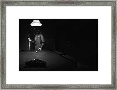 Mystery Pool Player Behind Rack Of Framed Print by Richard Wear