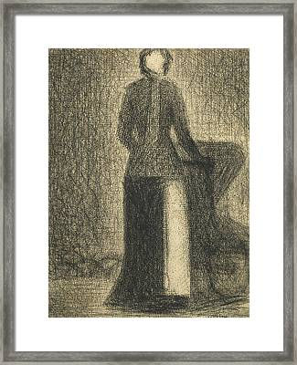 Nurse With A Childs Carriage  Framed Print by Georges-Pierre Seurat