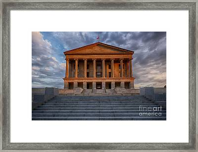 Photography Print Of The State Capital Building Of Nashville Tennessee At Sunrise Framed Print by Jeremy Holmes