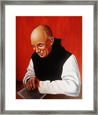 Portrait Of Thomas Merton Framed Print by Joseph Malham