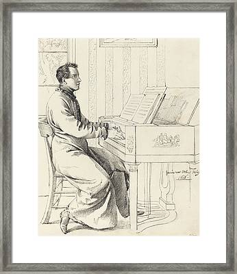 Preparing To Play The Piano Framed Print by Ludwig Emil Grimm