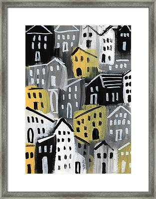 Rainy Day - Expressionist Art Framed Print by Linda Woods
