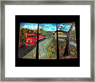 Red Train Passage - Elegance With Oil Framed Print by Claude Beaulac
