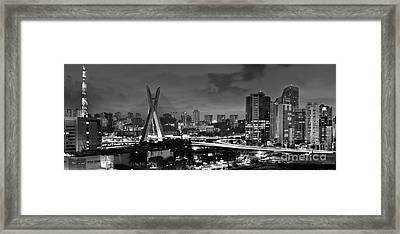 Sao Paulo Iconic Skyline - Cable-stayed Bridge - Ponte Estaiada Framed Print by Carlos Alkmin