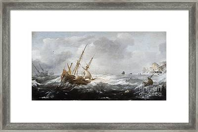 Ships In A Storm On A Rocky Coast Framed Print by Celestial Images