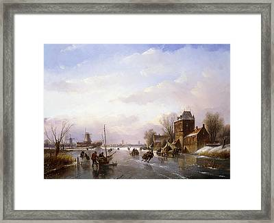 Skaters In A Frozen Landscape Framed Print by Jan Jacob Spohler