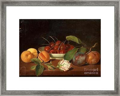 Still Life With Fruits And Flowers Framed Print by Justus Juncker