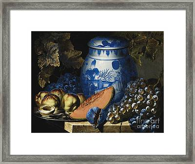 Still Life With Grapes Framed Print by Pierre Antoine