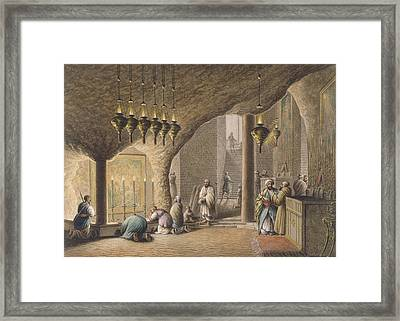 The Grotto Of The Nativity In Bethlehem Framed Print by Luigi Mayer