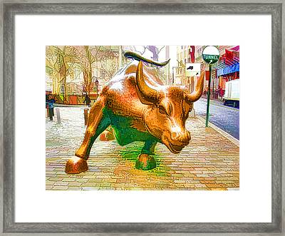 The Landmark Charging Bull In Lower Manhattan  Framed Print by Lanjee Chee