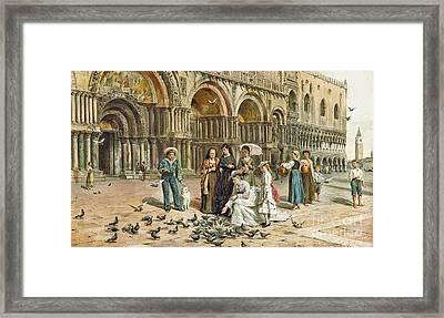 The Pigeons Of St Mark Framed Print by George Goodwin