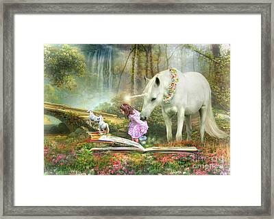 The Unicorn Book Of Magic Framed Print by Trudi Simmonds