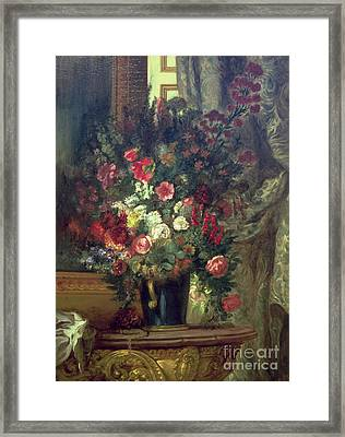 Vase Of Flowers On A Console Framed Print by Eugene Delacroix