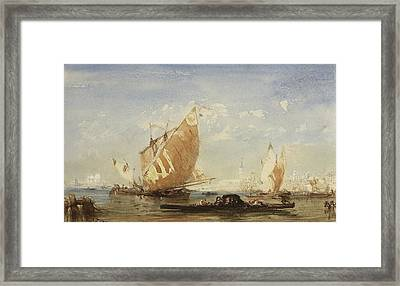 Venice, Sailing Boats And Gondolas In The Basin Of San Marco Framed Print by Felix Ziem