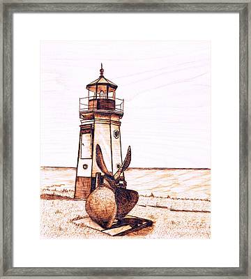 Vermilion Lighthouse Framed Print by Danette Smith