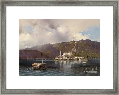 View Of Isola San Giulio In Lake Orta Framed Print by Celestial Images