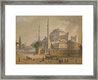 Views Of The Aya Sofia Framed Print by Gaspare Trajano Fossati