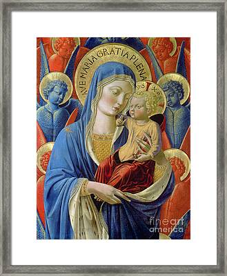 Virgin And Child With Angels Framed Print by Benozzo di Lese di Sandro Gozzoli