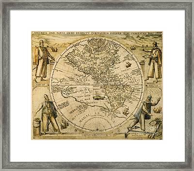 W. Hemisphere Map, 1596 Framed Print by Granger