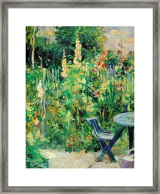 Hollyhocks Framed Print by Berthe Morisot