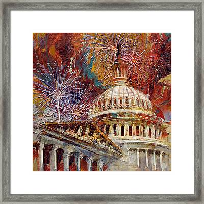 070 United States Capitol Building - Us Independence Day Celebration Fireworks Framed Print by Maryam Mughal