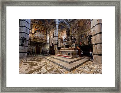 Interior Of Siena Cathedral, Italian Duomo Di Siena With Mosaic Floor Framed Print by Michal Bednarek