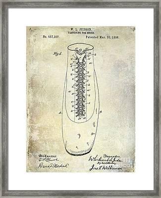1896 Shoe Patent  Framed Print by Jon Neidert