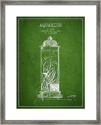 1902 Aquarium Patent - Green Framed Print by Aged Pixel