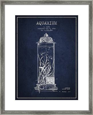 1902 Aquarium Patent - Navy Blue Framed Print by Aged Pixel