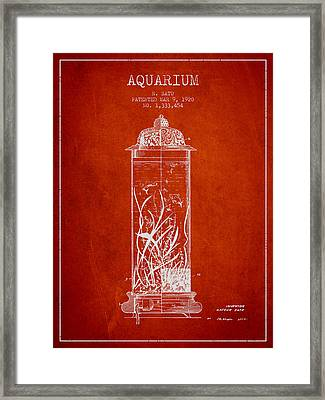 1902 Aquarium Patent - Red Framed Print by Aged Pixel
