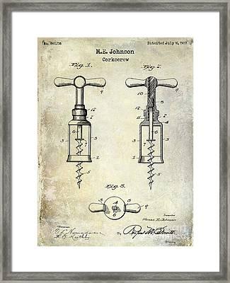 1907 Corkscrew Patent  Framed Print by Jon Neidert
