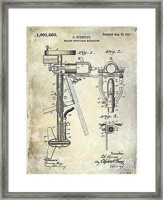1911 Outboard Boat Motor Patent Framed Print by Jon Neidert