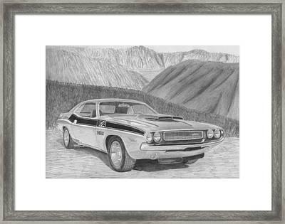 1970 Dodge Challenger Ta Classic Car Art Print Framed Print by Stephen Rooks