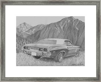 1974 Dodge Challenger Rallye Classic Car Art Print Framed Print by Stephen Rooks