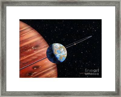 70 Virginis B And Moons Framed Print by Lynette Cook