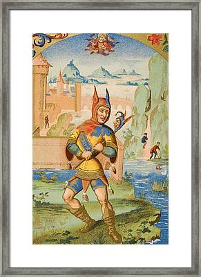 A Court Fool Of The 15th Century. 19th Framed Print by Vintage Design Pics