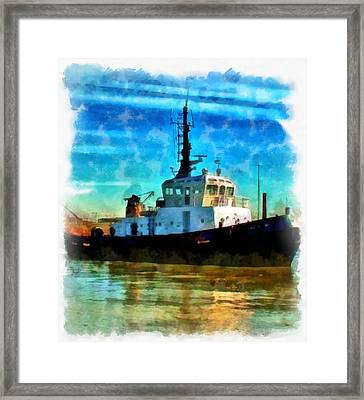 A Digitally Constructed Painting Of A Tugboat In Aquarelle Style Framed Print by Ken Biggs