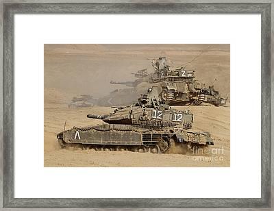 A Pair Of Israel Defense Force Merkava Framed Print by Ofer Zidon