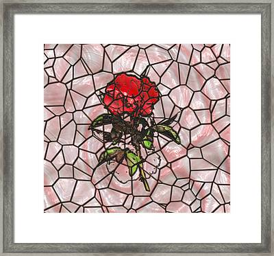 A Rose On Stained Glass Framed Print by John M Bailey