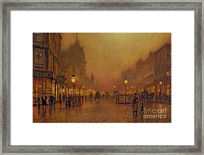 A Street At Night Framed Print by John Atkinson Grimshaw