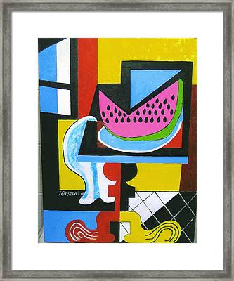 Abstract Watermelon Framed Print by Nicholas Martori