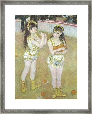 Acrobats At The Cirque Fernando, Francisca And Angelina Wartenberg Framed Print by Pierre Auguste Renoir