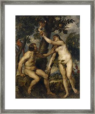 Adam And Eve Framed Print by Peter Paul Rubens