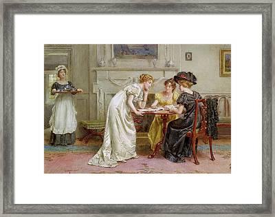 Afternoon Tea Framed Print by George Goodwin Kilburne