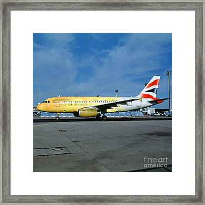 Airbus A319-131, British Airways, G-eupc, Olympic Torch Relay, O Framed Print by Wernher Krutein