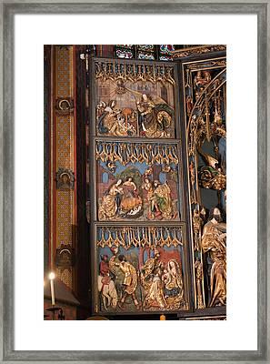 Altarpiece By Wit Stwosz In St. Mary's Basilica In Krakow Framed Print by Artur Bogacki