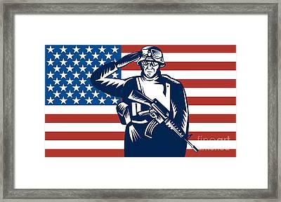 American Soldier Saluting Flag Framed Print by Aloysius Patrimonio