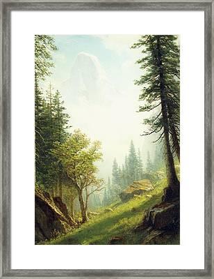 Among The Bernese Alps Framed Print by Albert Bierstadt