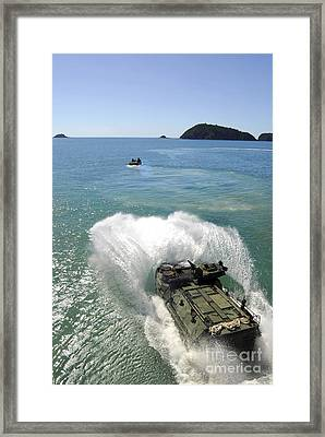 Amphibious Assault Vehicles Exit Framed Print by Stocktrek Images