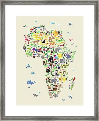 Animal Map Of Africa For Children And Kids Framed Print by Michael Tompsett